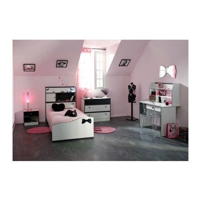 chambre fille avec bureau disco noire et blanche achat vente chambre compl te chambre fille. Black Bedroom Furniture Sets. Home Design Ideas