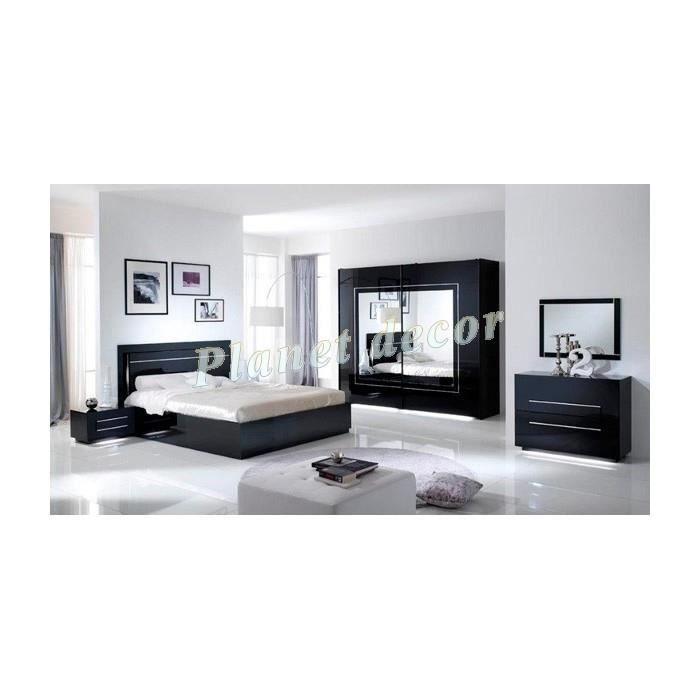 Chambre coucher city noir armoire h 200 cm c achat vente chambre compl - Chambre a coucher cdiscount ...