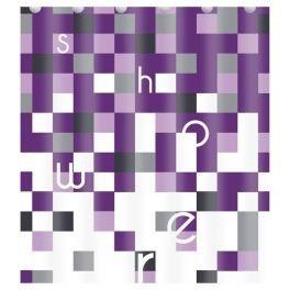Rideau de douche violet carreaux for Petit rideau de douche