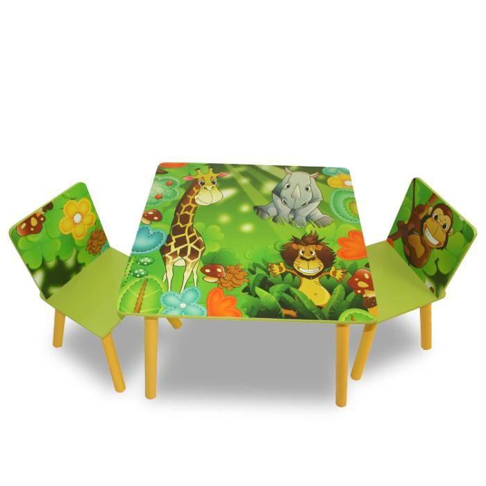 Ensemble table 2 chaises vert pour enfant achat vente for Chaise pour bebe table