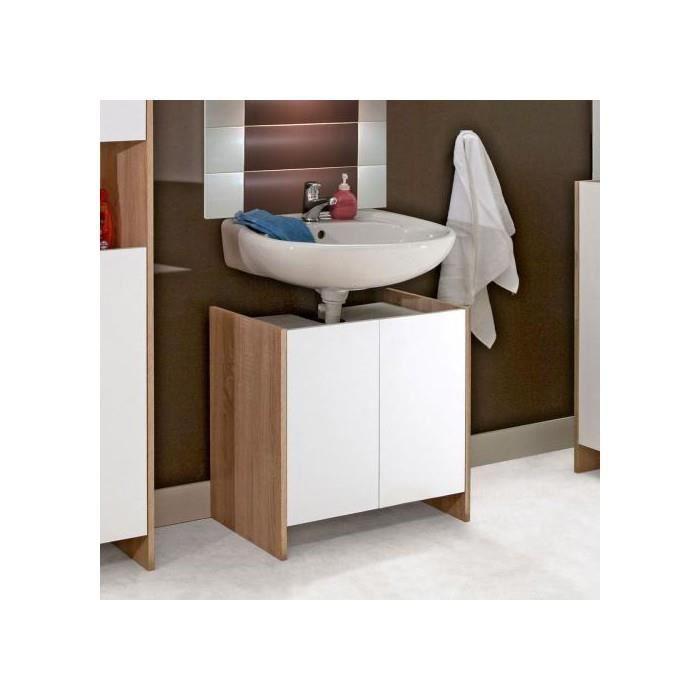 Meuble sous lavabo 2 portes chene blanc achat vente for Meuble sous lavabo une porte