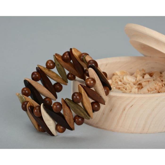 BRACELET , GOURMETTE Bracelet en bois sur fil élastique Bijoux ethnique