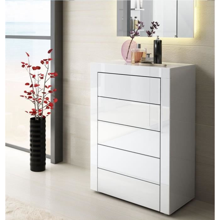 commode blanche laqu e 58 cm achat vente commode de chambre commode blanche laqu e 58 c. Black Bedroom Furniture Sets. Home Design Ideas
