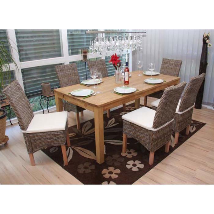 Lot de 6 chaises m44 salle manger rotin kubu bois for Chaise salle a manger rotin