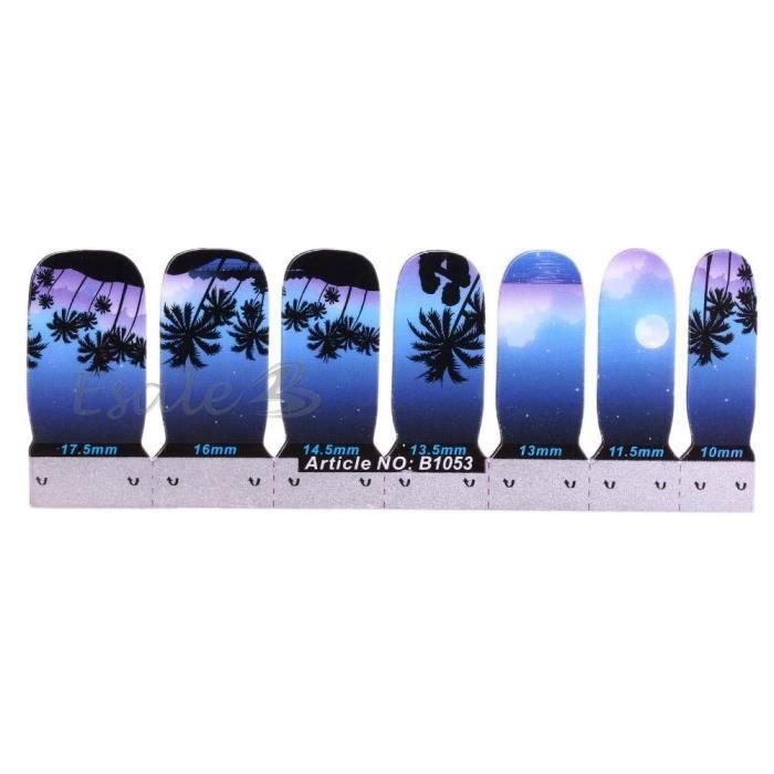 14pcs autocollant sticker d coration manucure ongles motif for Decoration bord de mer bleu
