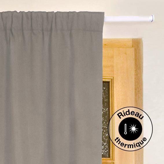 Rideau de porte thermique 100 x h220 cm igloo taupe clair achat vente rideau cdiscount for Porte couleur taupe