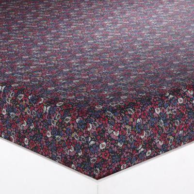 drap housse motif fleuri 2 personnes en pur cot achat. Black Bedroom Furniture Sets. Home Design Ideas