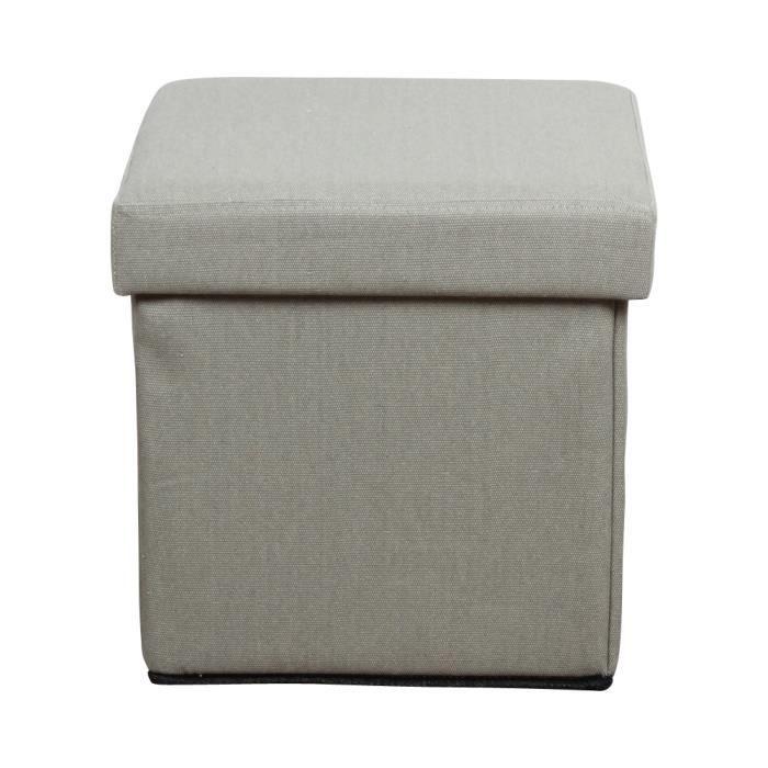 pouf pliant coffre gris achat vente pouf poire tissu 100 polyester lin cdiscount. Black Bedroom Furniture Sets. Home Design Ideas