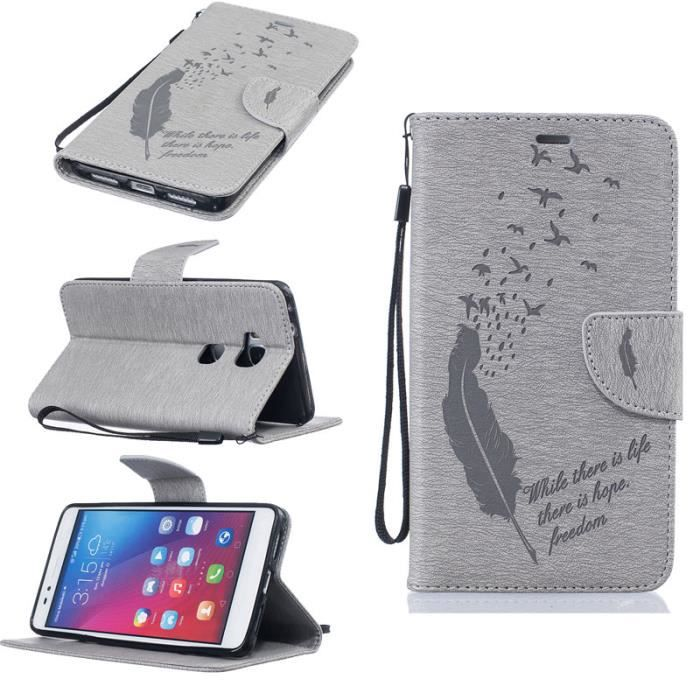 Housse etui pour huawei honor 5x gris plumes magn tique for Housse honor 5x