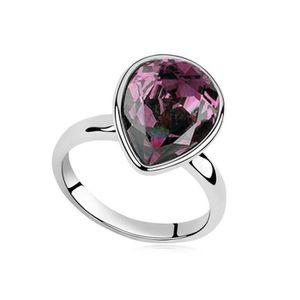 BAGUE - ANNEAU Bague goutte cristal SWAROVSKI ELEMENTS violet pla