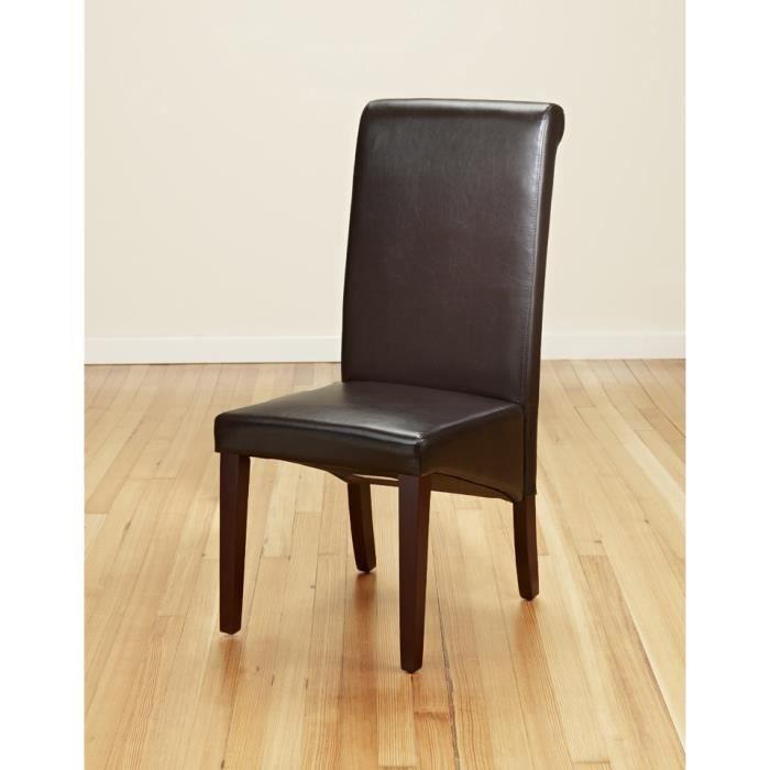 Lot de 2 brun tr s fonc chaises de salle manger cuir for Chaise de salle a manger brun