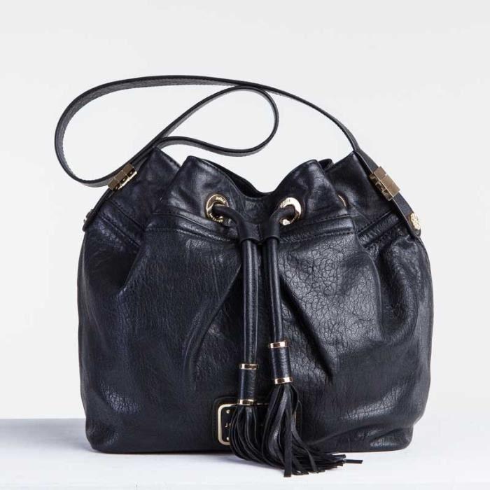sac seau du cuir de monton noir achat vente sac seau du cuir de monton cdiscount. Black Bedroom Furniture Sets. Home Design Ideas