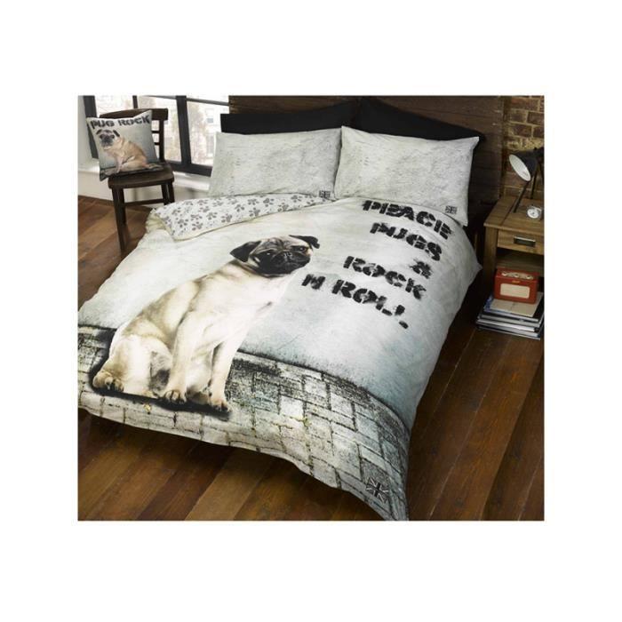 Parure de lit chien peace pugs rock n roll achat for Housse de couette rock
