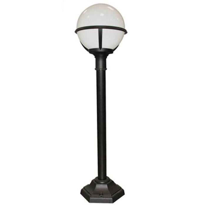 Borne pilier clairage jardin glenbeigh coloris noir et for Eclairage exterieur jardin globe
