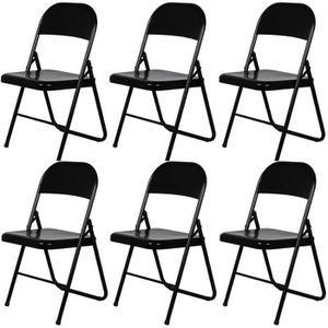 CHAISE America Lot de 6 chaises pliantes - Noires