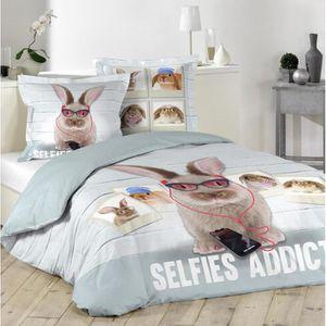 Parure de lit lapin achat vente parure de lit lapin pas cher soldes cdiscount for Housse de couette 200x220
