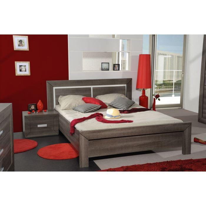 Avignon lit adulte 140 x 190 cm coloris bois gris achat vente structure d - Lit mezzanine 140x190 bois ...