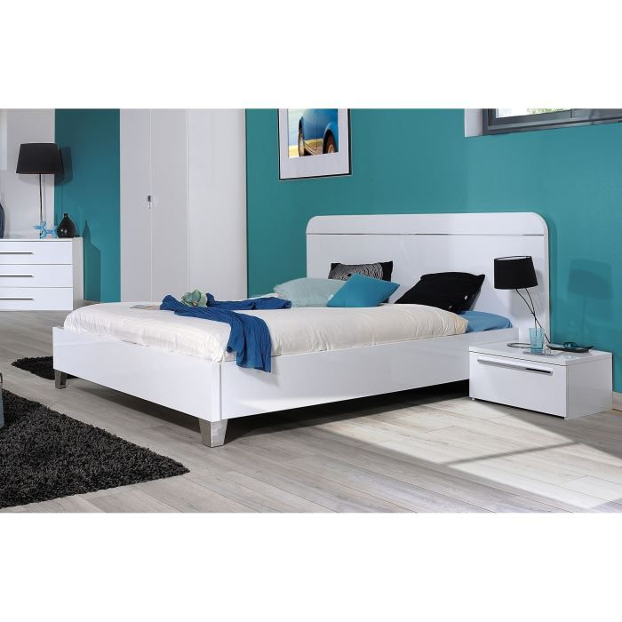 first lit adulte 140 x 190 laqu blanc achat vente structure de lit first lit 140 cm laqu. Black Bedroom Furniture Sets. Home Design Ideas