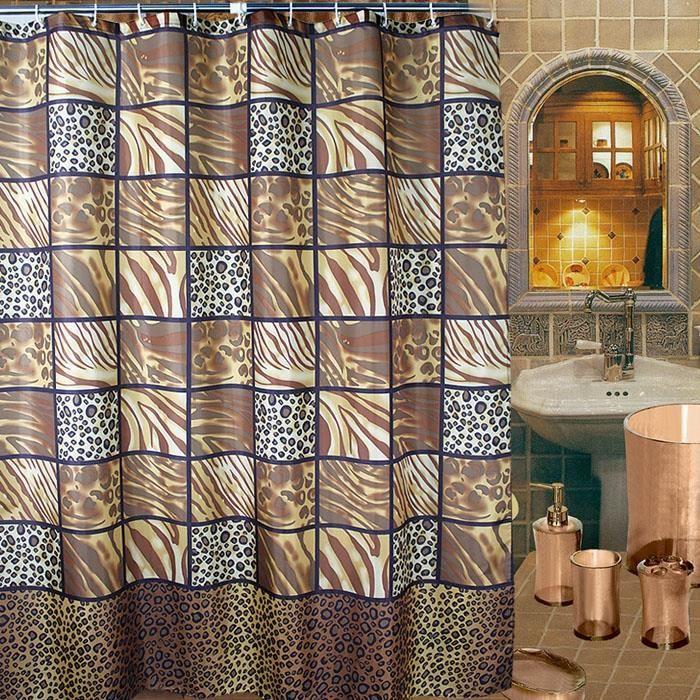 rideau de douche marron caf motif de grille leopard 180. Black Bedroom Furniture Sets. Home Design Ideas