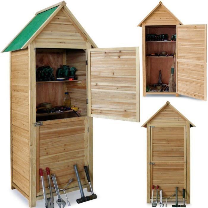 Abri de jardin en bois cabane 190x79x49cm 2 tag res 2 for Porte de cabane de jardin