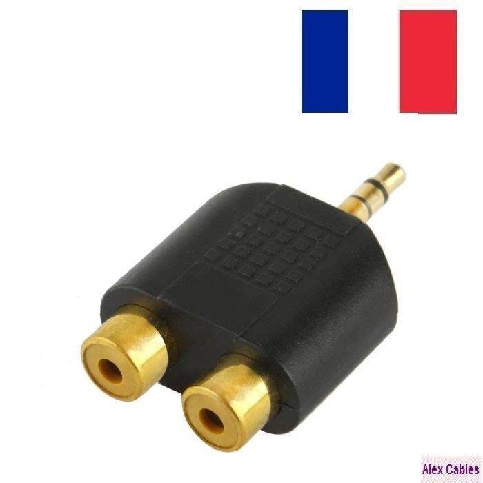 alex cables adaptateur 2x rca femelle jack 3 5 mm m le plaqu or prix pas cher cdiscount. Black Bedroom Furniture Sets. Home Design Ideas