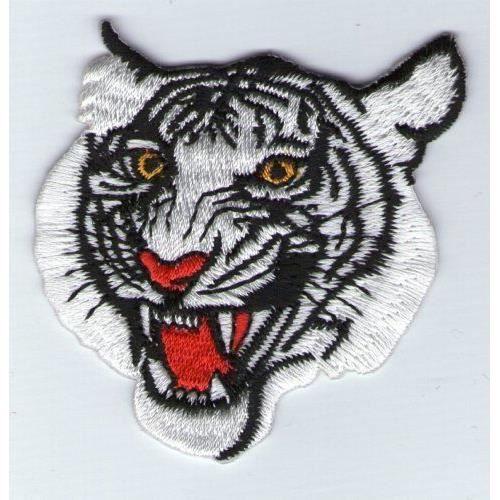 Ecusson patch thermocollant tete de tigre blanc achat - Image tete de tigre ...
