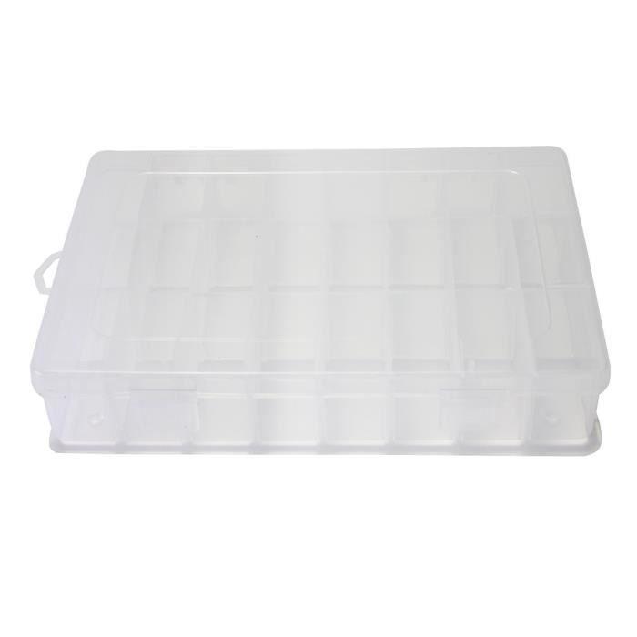 bo te stockage de rangement transparent plastique 24 compartiments pour bijou achat vente. Black Bedroom Furniture Sets. Home Design Ideas