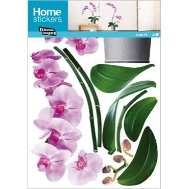 Stickers muraux adhesif mural xxl orchidees roses achat vente plaque de p - Stickers muraux cdiscount ...