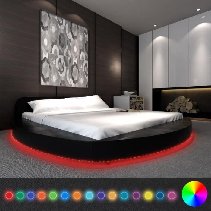 cadre de lit en pu rond avec bande led 180 x 200 cm noir achat vente structure de lit cadre. Black Bedroom Furniture Sets. Home Design Ideas