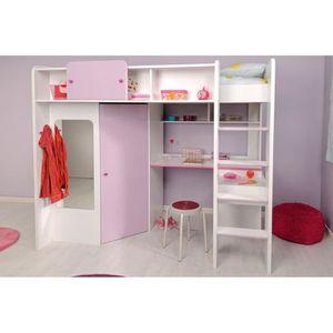 lit combin enfant 90x200 cm blanc et parme chloe achat vente lit combine lit combin enfant. Black Bedroom Furniture Sets. Home Design Ideas