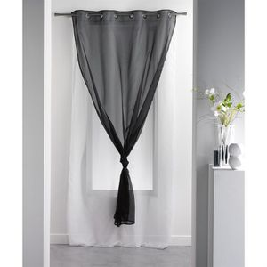 rideaux noir et blanc a oeillets achat vente rideaux noir et blanc a oeillets pas cher. Black Bedroom Furniture Sets. Home Design Ideas