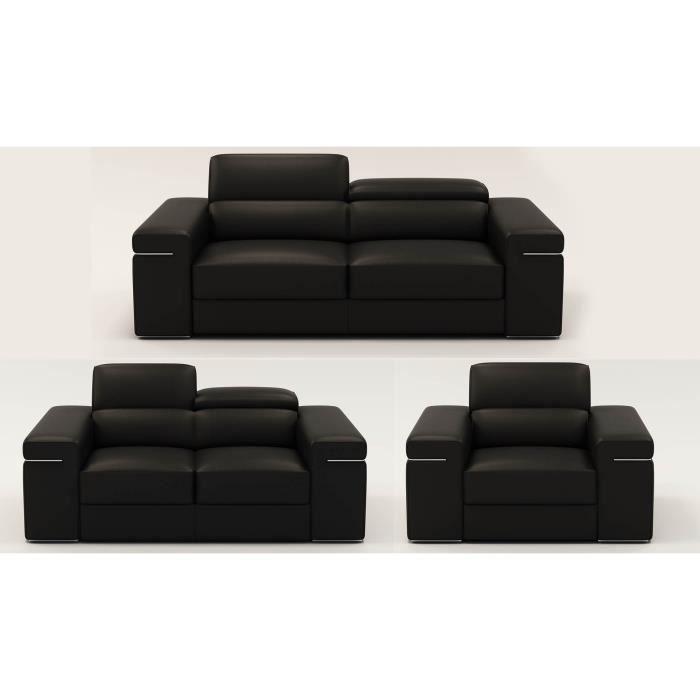Ensemble canap 3 2 1 places en cuir noir max achat vente canap sofa - Ensemble canape cuir ...