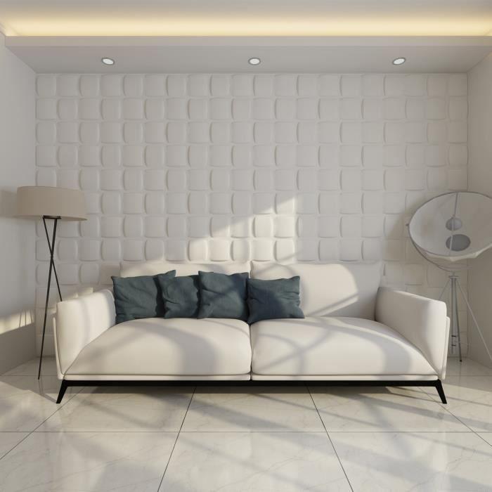 panneau mur 3d blanc achat vente objet d coration murale bambou carton cdiscount. Black Bedroom Furniture Sets. Home Design Ideas