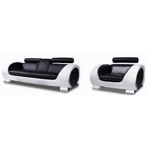 1 canap 3 places 1 fauteuil cuir noir et blanc achat - Salon cuir noir et blanc ...