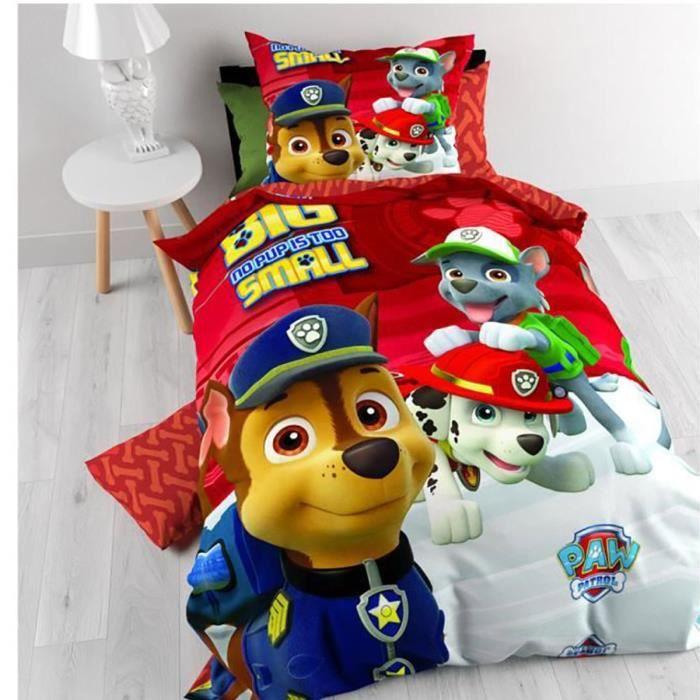 parure de lit enfant pat patrouille en microfibre 140 x 200 cm rouge achat vente parure de. Black Bedroom Furniture Sets. Home Design Ideas