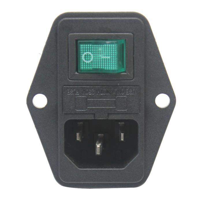 c14 entr e prise lectrique plug interrupteur avec porte fusible de protection achat vente. Black Bedroom Furniture Sets. Home Design Ideas
