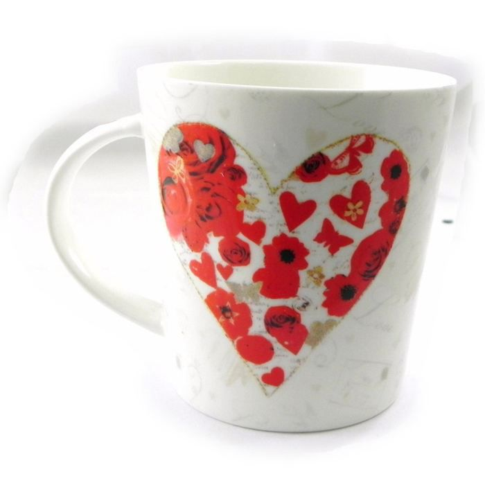 mug porcelaine love rouge blanc achat vente bol mug mazagran cdiscount. Black Bedroom Furniture Sets. Home Design Ideas