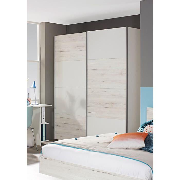 Armoire contemporaine portes coulissantes 136 cm ch ne blanc blanc brooke a - Armoire contemporaine portes coulissantes ...