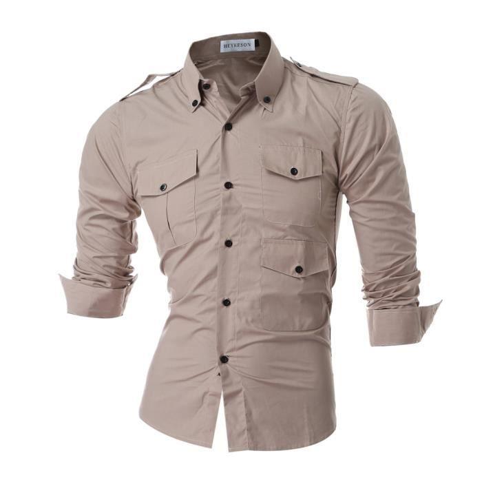 marque 2017 homme robe multi pocket chemises chemise homme slim fit hommes chemise chemise solid. Black Bedroom Furniture Sets. Home Design Ideas