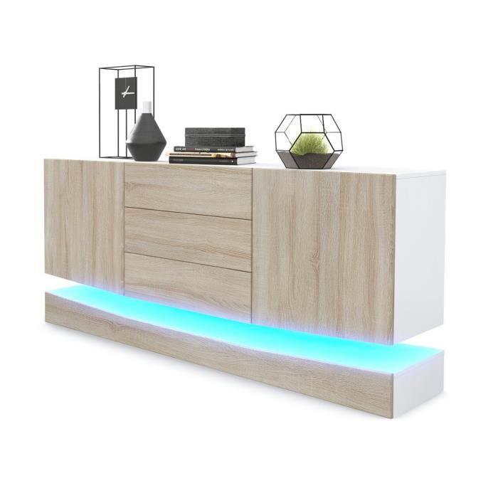 buffet blanc laqu et ch ne brut mdf avec clairage led achat vente buffet bahut buffet. Black Bedroom Furniture Sets. Home Design Ideas