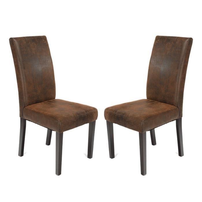 paris prix lot de 2 chaises tissu vieilli 101cm achat vente chaise marron cdiscount. Black Bedroom Furniture Sets. Home Design Ideas