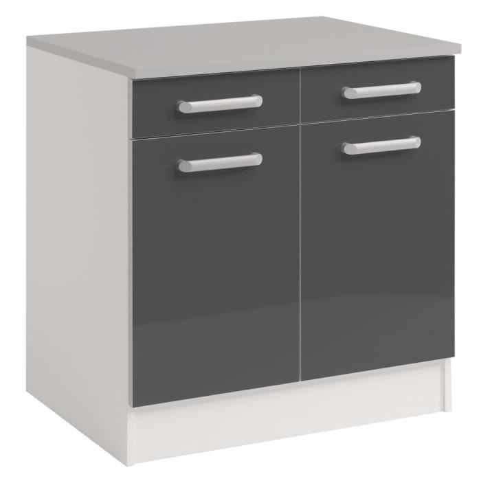 Placard au sol 2p 2 tiroirs stracy gris achat vente for Placard cuisine gris
