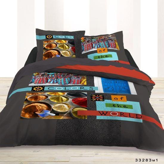 housse de couette et deux taies d 39 oreiller colors achat vente parure de couette cdiscount. Black Bedroom Furniture Sets. Home Design Ideas