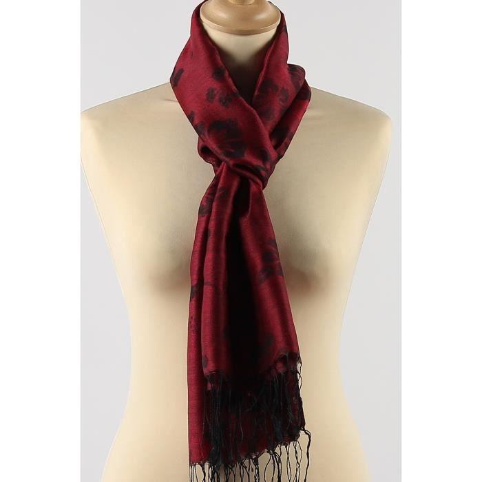 foulard satin femme rouge bordeaux et noir fines franges imprim fleuri viscose rouge rouge. Black Bedroom Furniture Sets. Home Design Ideas