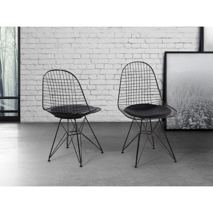 Chaise de salle manger chaise en m tal noir for Soldes chaises salle a manger