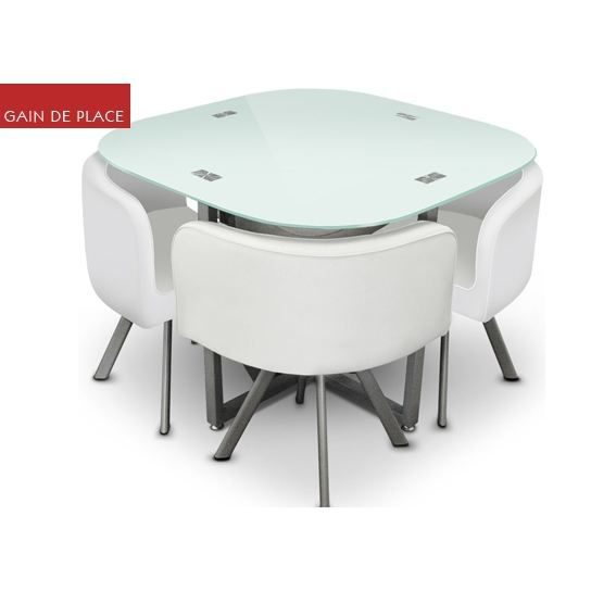 Table damier 4 chaise blanc table de salle achat for Table a manger gain de place
