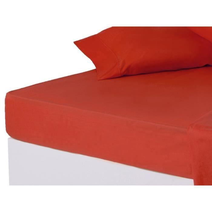 drap de dessous lit 150 cm rouge achat vente drap plat cdiscount. Black Bedroom Furniture Sets. Home Design Ideas