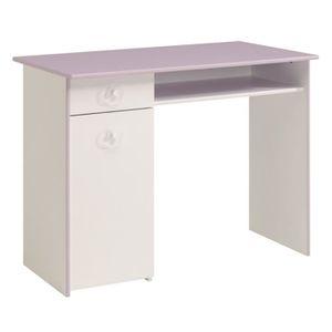 bureau blanc laque et bois achat vente bureau blanc laque et bois pas cher cdiscount. Black Bedroom Furniture Sets. Home Design Ideas