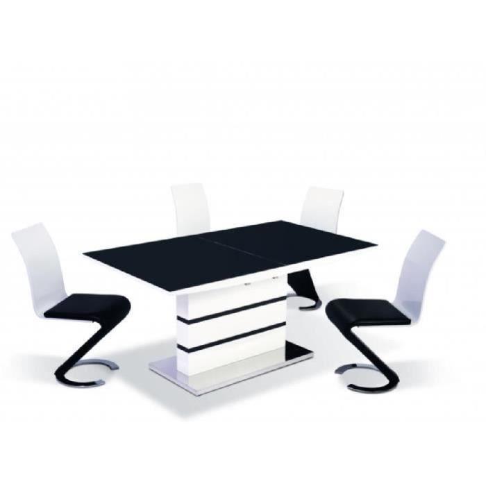 Table manger design laqu noir blanc achat vente for Salle a manger moderne noir et blanc