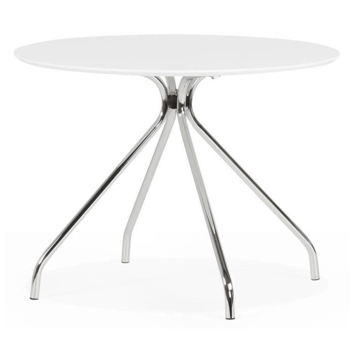Table de cuisine 39 grif white 39 ronde blanche design achat - Table de cuisine ronde blanche ...